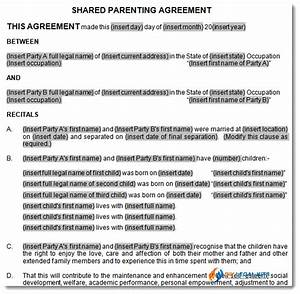 Child support and parenting plan agreement template for Shared parenting plan template