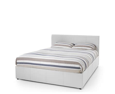 Malpasso White Faux Leather Ottoman Bed Single Size
