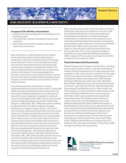 research summary young adolescents developmental