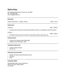 college student resume exles first job teen 12 free high student resume exles for teens
