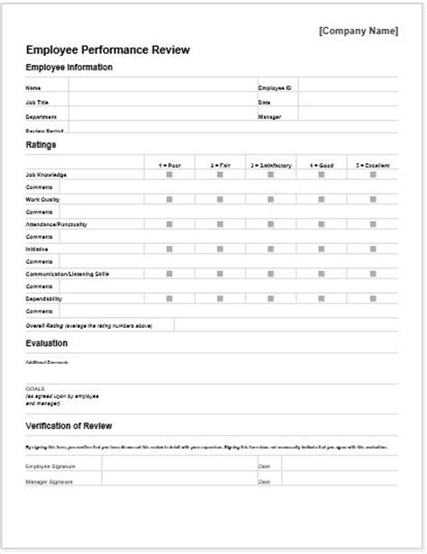 performance appraisal template performance appraisal forms for ms word word document templates