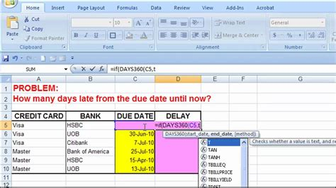 excel   days late   due date youtube