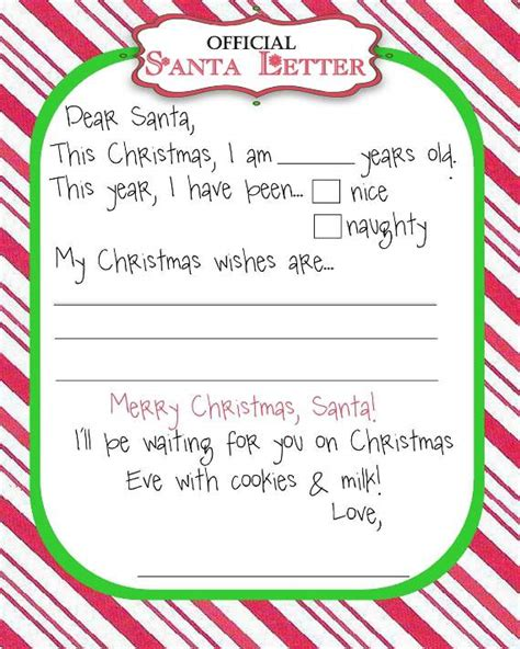 santa wish list template top 15 best blank letters to santa free printable templates