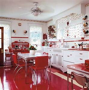 remake this room with ruby lane retro red kitchen ruby With best brand of paint for kitchen cabinets with papier peint retro