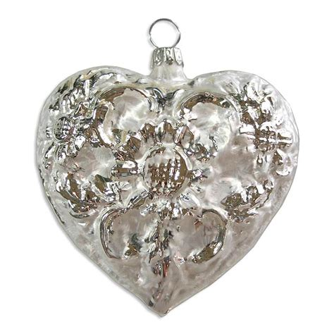 large matte white silver blown glass heart ornament