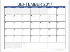 September 2017 Calendar Template Printable Monthly