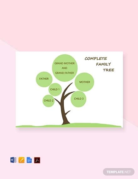 complete family tree template  word apple