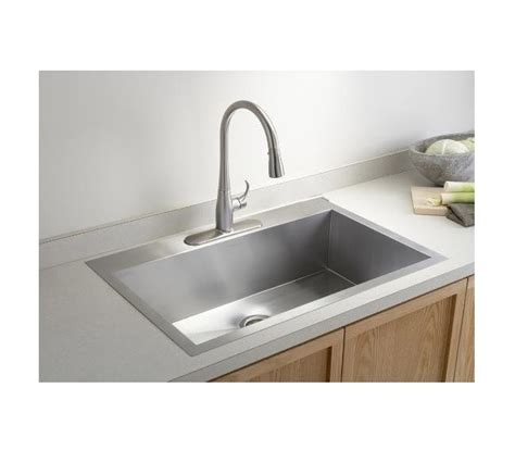 top mount single bowl kitchen sink 33 inch top mount drop in stainless steel single 9486