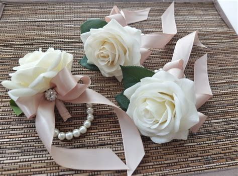 Wrist Corsage White rose with champagne ribbon on pearl