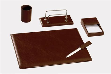 5 pcs desk set in quot by cast quot leather made in italy orna