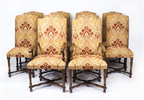 vintage set 10 upholstered high back dining chairs 20thc