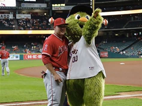 houston astros mascot tricks angels mike trout