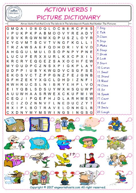 action verbs esl printable picture dictionary worksheets