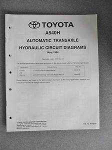 Toyota Automatic Transaxle Hydraulic Circuit Diagrams