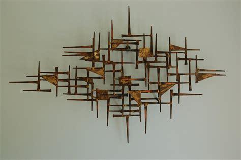Modern Hanging Metal Wall Art Sculpture Contemporary: Mid Century Modern Brutalist Nail Art Wall Hanging Sculpture