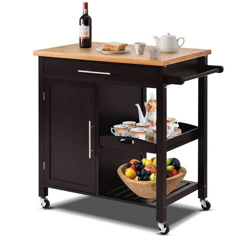 rolling wood kitchen island trolley cart bamboo top