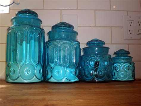 Colored Glass Kitchen Canister Sets  Kitchen Decor Sets