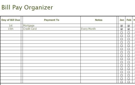 bill pay organizer  excel templates