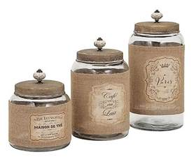 Country Canisters For Kitchen Country Glass Jars And Lids Kitchen Canister Set Of 3 W Jute Wrap Labels Ebay
