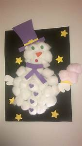 Bricolage 3 Ans : bonhomme de neige en coton et canson fait par ma puce 3 ~ Melissatoandfro.com Idées de Décoration