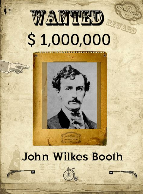 booth wilkes john wanted poster posters escape quotes lincoln zombie west route kid funny description geocache outlaw quotesgram abraham