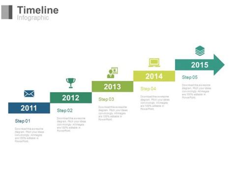 staged arrow stair timeline  years powerpoint