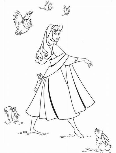 Aurora Princess Walking Coloring Pages Printable Disney