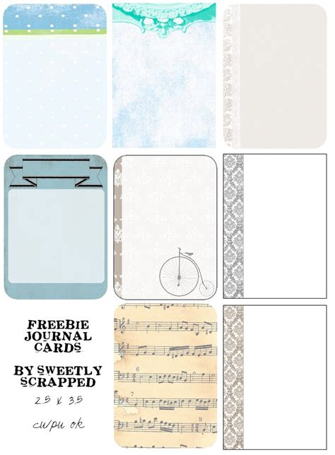 sweetly scrapped  printable papers  journal cards