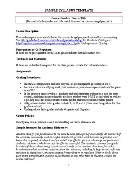 middle school syllabus template classroom management in middle and high school collection lesson planet
