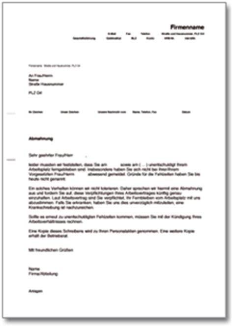 abmahnung wegen unentschuldigten fehlens ch musterbrief