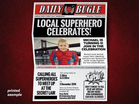diy superhero newspaper invitation template