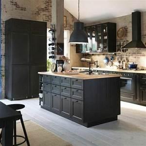 45 idees en photos pour bien choisir un ilot de cuisine With ordinary meuble style campagne chic 0 cuisine noire style bistrot cuisine pinterest