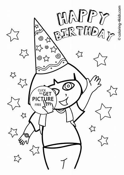 Coloring Dora Birthday Happy Pages Printables Party