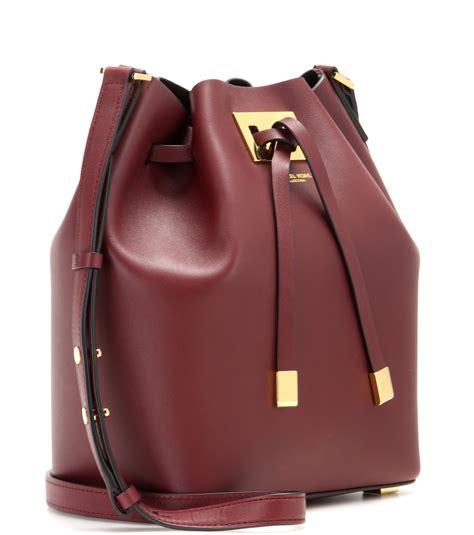 michael kors miranda medium leather bucket bag  claret