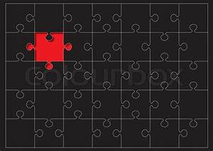 Black jigsaw puzzle with red missing piece and white ...