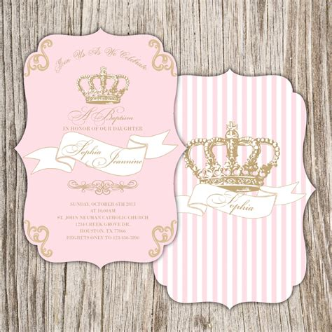 Baptism invite for girl with royal crown Baptism Party