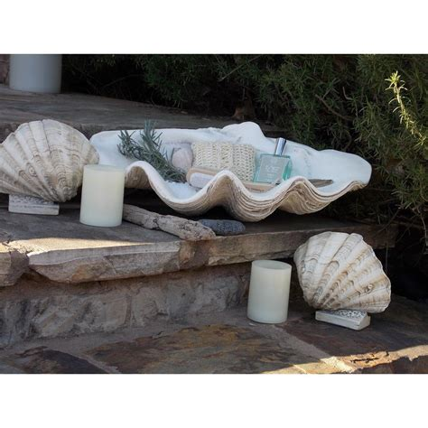Large Clam Shell Decoration - table top home decor large clam shell bowl indoor