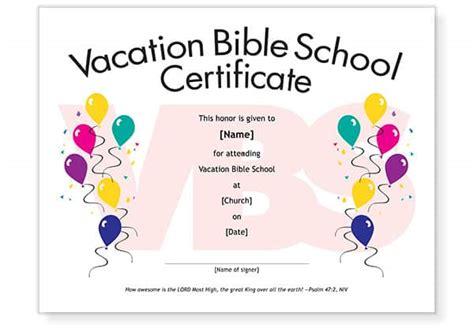 vbs attendance certificate template