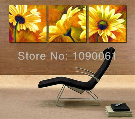 hand painted yellow flowers oil painting sunflower wall