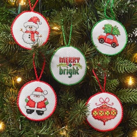 christmas mini ornaments counted cross stitch kit