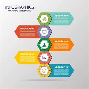 Flat infographic template colorful polygon arrows decor ...