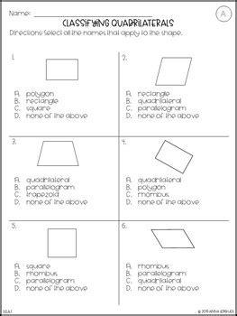 prep  grade classifying quadrilaterals worksheets