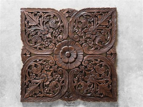 Buy Thai Oriental Lotus Carved Wood Wall Art Decor Online Window Frame Coffee Table Art Deco Book All Tables New Books Stone International Cast Iron Pouf As With Wheels