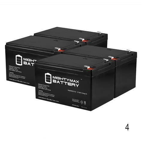 mighty max 4 pack ml15 12 12v 15ah f2 battery pride jazzy