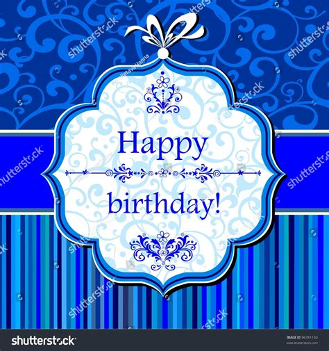 birthday card celebration blue background birthday stock