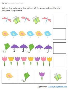 cut and paste pattern worksheets by playful learning tpt