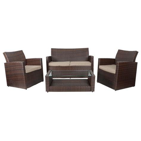 brown tuscany rattan wicker sofa garden set  coffee table