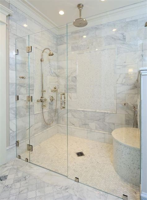 Zero Clearance Shower with a shower door.   Master
