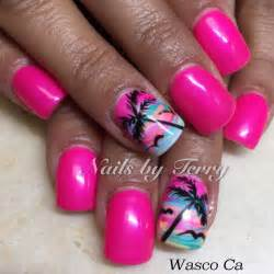 Nails on palm tree nail art and beach