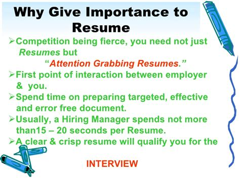 the importance of a resume resume ideas